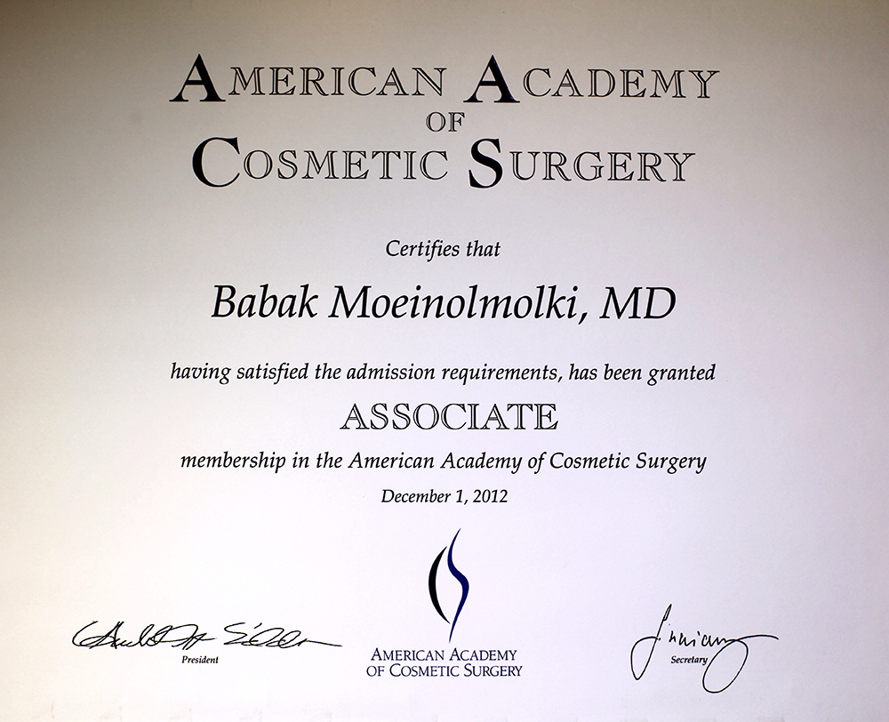 American Academy of Cosmetic Surgery certificate